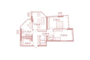 ЖК Crystal Avenue: планування 3-кімнатної квартири 85.61 м²
