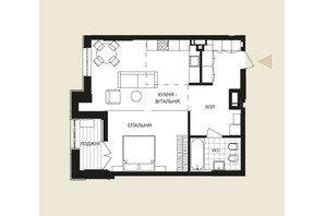 ЖК Crystal Park Tower: планировка 1-комнатной квартиры 58.88 м²