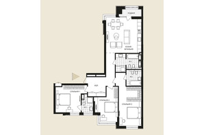 ЖК Crystal Park Tower: планировка 3-комнатной квартиры 127.05 м²
