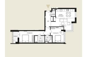ЖК Crystal Park Tower: планировка 3-комнатной квартиры 84.32 м²