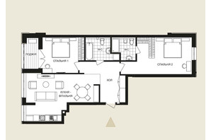 ЖК Crystal Park Tower: планировка 2-комнатной квартиры 90.45 м²