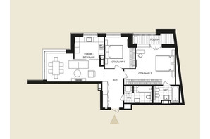 ЖК Crystal Park Tower: планировка 3-комнатной квартиры 89.4 м²