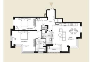 ЖК Crystal Park Tower: планировка 2-комнатной квартиры 121.81 м²