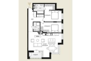 ЖК Crystal Park Tower: планировка 2-комнатной квартиры 97.51 м²