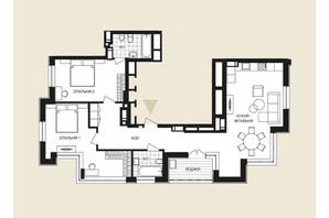 ЖК Crystal Park Tower: планировка 2-комнатной квартиры 96.65 м²