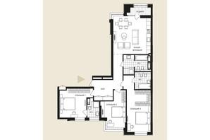 ЖК Crystal Park Tower: планировка 3-комнатной квартиры 127.4 м²