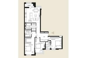 ЖК Crystal Park Tower: планировка 3-комнатной квартиры 127.41 м²