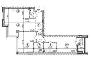 ЖК Crystal Park Tower: планування 3-кімнатної квартири 85.28 м²
