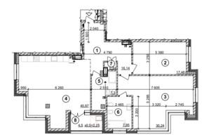 ЖК Crystal Park Tower: планування 2-кімнатної квартири 122.85 м²