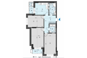 ЖК Crystal Residence: планировка 3-комнатной квартиры 93.94 м²