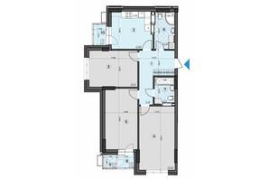 ЖК Crystal Residence: планировка 3-комнатной квартиры 90.32 м²