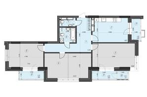 ЖК Crystal Residence: планировка 3-комнатной квартиры 103.63 м²
