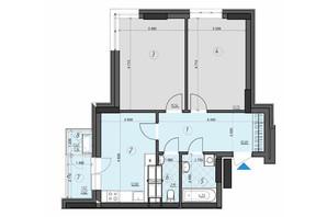 ЖК Crystal Residence: планировка 2-комнатной квартиры 60.68 м²