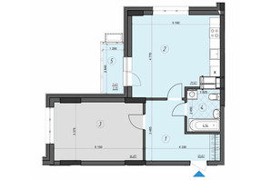 ЖК Crystal Residence: планировка 1-комнатной квартиры 56.88 м²