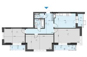 ЖК Crystal Residence: планировка 3-комнатной квартиры 104.06 м²