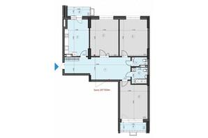 ЖК Crystal Residence: планировка 3-комнатной квартиры 124.47 м²