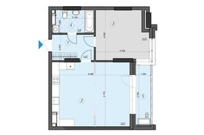 ЖК Crystal Residence: планировка 1-комнатной квартиры 62.15 м²