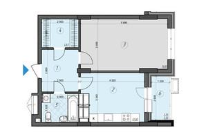 ЖК Crystal Residence: планировка 1-комнатной квартиры 52.33 м²