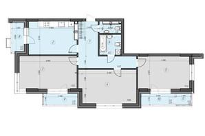 ЖК Crystal Residence: планировка 3-комнатной квартиры 103.64 м²