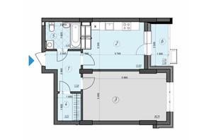 ЖК Crystal Residence: планировка 1-комнатной квартиры 49.31 м²