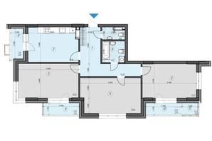 ЖК Crystal Residence: планировка 3-комнатной квартиры 104.07 м²