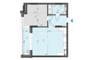ЖК Crystal Residence: планировка 1-комнатной квартиры 65.27 м²