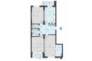 ЖК Crystal Residence: планировка 3-комнатной квартиры 120.05 м²