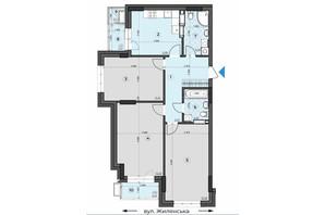 ЖК Crystal Residence: планування 3-кімнатної квартири 93.94 м²