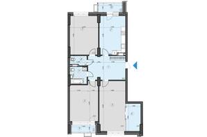 ЖК Crystal Residence: планування 3-кімнатної квартири 120.39 м²