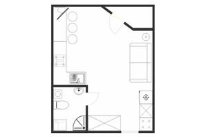 ЖК Cузір'я-2019: планировка 1-комнатной квартиры 26.4 м²