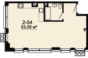 ЖК DeLight Hall: планування 2-кімнатної квартири 53.08 м²