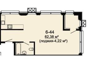 ЖК DeLight Hall: планування 3-кімнатної квартири 62.38 м²