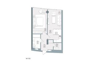 ЖК Delrey: планування 1-кімнатної квартири 49 м²