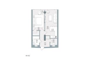 ЖК Delrey: планування 1-кімнатної квартири 49.31 м²