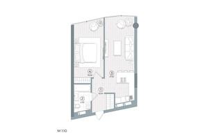 ЖК Delrey: планування 1-кімнатної квартири 52.91 м²