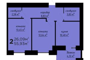 ЖК День і ніч: планування 2-кімнатної квартири 55.93 м²