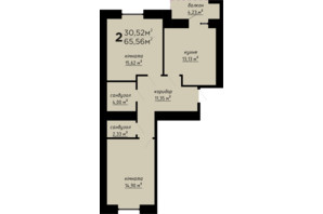 ЖК День і ніч: планування 2-кімнатної квартири 65.56 м²