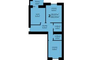 ЖК День і ніч: планування 2-кімнатної квартири 68 м²