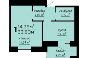 ЖК День и ночь: планировка 1-комнатной квартиры 33.8 м²