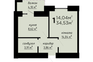 ЖК День и ночь: планировка 1-комнатной квартиры 34.53 м²
