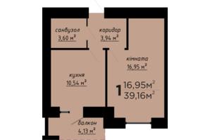 ЖК День и ночь: планировка 1-комнатной квартиры 39.16 м²
