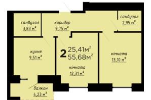 ЖК День и ночь: планировка 2-комнатной квартиры 55.68 м²