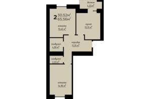 ЖК День и ночь: планировка 2-комнатной квартиры 65.56 м²