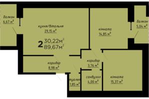 ЖК День и ночь: планировка 2-комнатной квартиры 89.67 м²