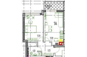 ЖК Derby Style House: планировка 1-комнатной квартиры 44.85 м²