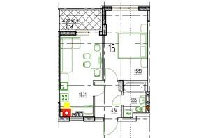 ЖК Derby Style House: планировка 1-комнатной квартиры 40.96 м²