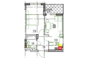 ЖК Derby Style House: планировка 1-комнатной квартиры 41.29 м²