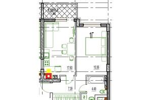 ЖК Derby Style House: планировка 1-комнатной квартиры 46.75 м²