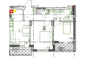 ЖК Derby Style House: планировка 2-комнатной квартиры 65.13 м²