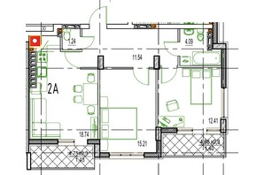 ЖК Derby Style House: планировка 2-комнатной квартиры 63.99 м²